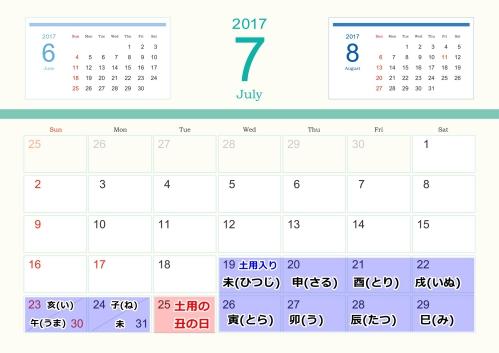 2017年の土用の丑の日(7月)